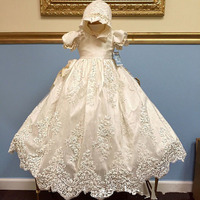 ADK Baby Girls Christening Gown Foot Length Custom Royal Baby Lace Sequined Party Gown Dress Girls