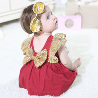 Summer 2019 Baby Bodysuits for Girls Sequin Sleeve Bow Dresses Overalls for Girls Body for Newborns Kid Clothes