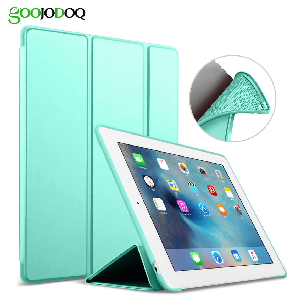 For iPad 2 3 4 Case Silicone Soft Cover for iPad 3 Case 9.7 inch PU Leather Tri-fold Stand for iPad 4 Smart Auto Sleep/Wake Up