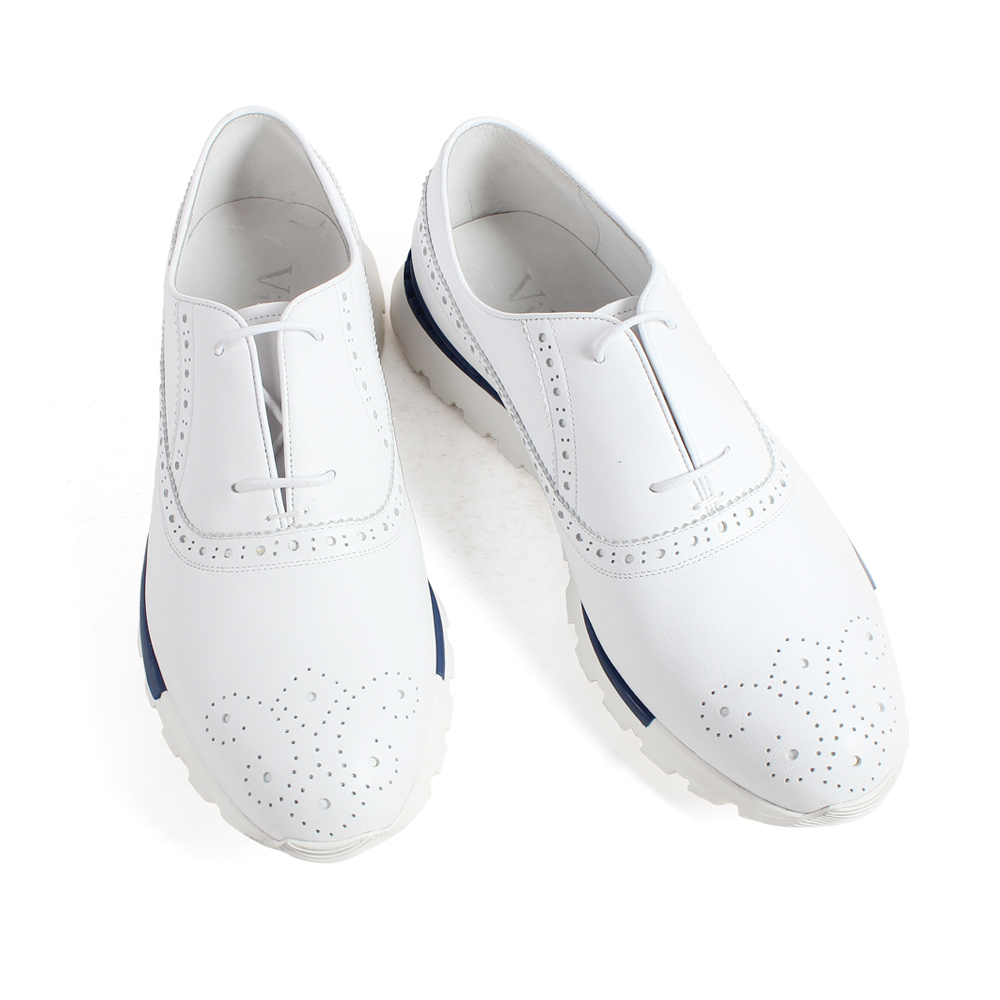 VIKEDUO biały prawdziwej skóry cielęcej skóry trampki Brogue sznurowane gumowa podeszwa ręcznie robione na zamówienie męskie buty na co dzień sport skórzany obuwie w Męskie nieformalne buty od Buty na  Grupa 2