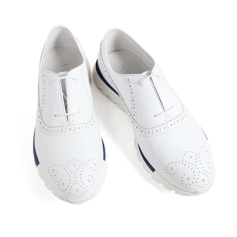 VIKEDUO zapatillas de piel de becerro genuino blanco Brogue encaje Up suela de goma hechos a mano zapatos de hombre Casual cuero deportivo calzado-in Zapatos informales de hombre from zapatos    2