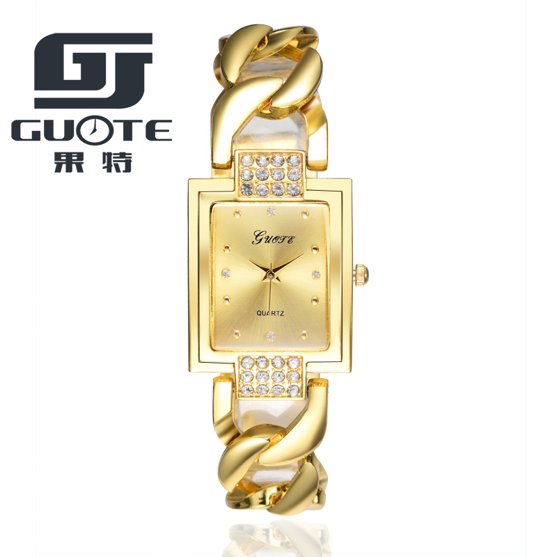 Guote Brand Bracelet Watches Women Fashion Rhinestone Gold Watch Square Dial Quartz-watch Hour Gift for Her reloje mujer 2017