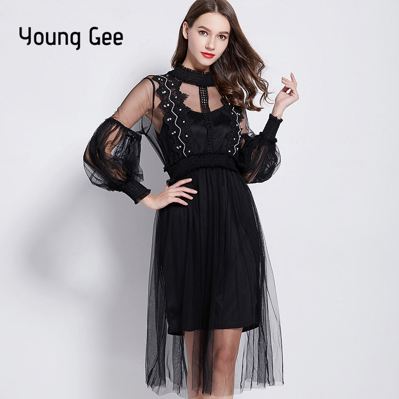 Young Gee Spring Summer Runway Designer Womens Dresses Pink Sweet Crystal Floral  Lace Stretchy Waist Lantern Sleeve Dress vestid