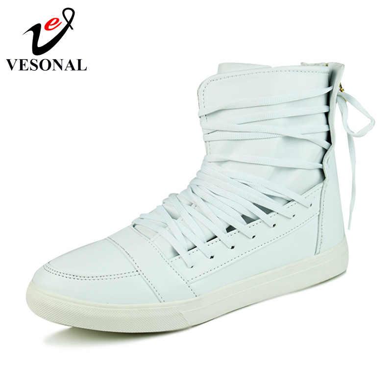 VESONAL/модные ботинки из искусственной кожи мужская обувь для взрослых; коллекция 2018 года; Зимние теплые кроссовки до середины икры; брендовая качественная обувь; DF24