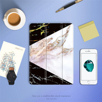 Case For IPad Air 2 3 4 GOLP Marble Pattern PU Leather Smart Cover Soft TPU