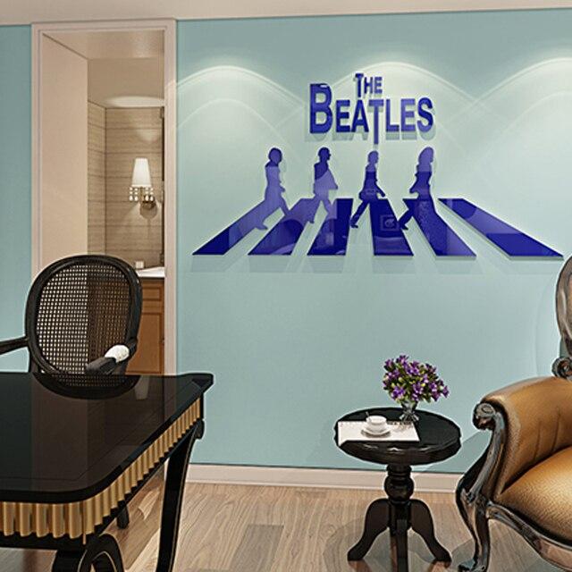Aliexpresscom Buy Rock Band Beatles Design Acrylic 3D Wall