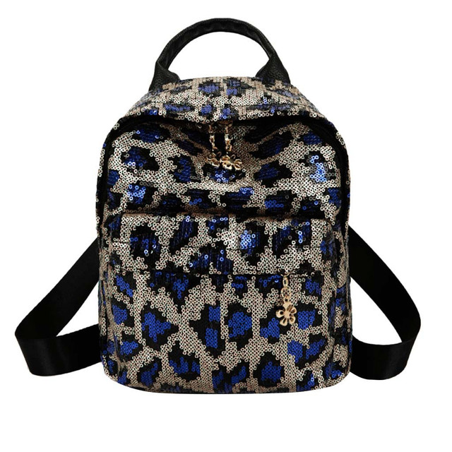 Fashion Sequins Leopard Backpack for Women Fashion Travel Shoulder Bags  School Book PU Leather Female Rucksack Mochila Feminina