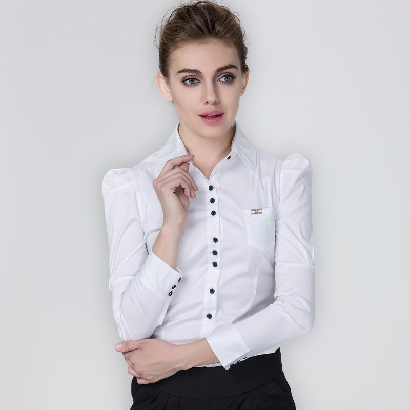 2018 New Spring Summer Full Sleeves Solid Office Ladies Body Conjoined Shirt Business Attire Women Slim Causal OL Shirts Blouses