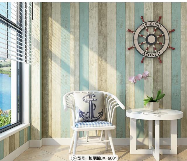 € 17.37 10% de réduction|Méditerranéen vertical bois grain bande auto  adhésif mur papier peint TV bleu marine maison artefact étanche toilette  cuisine ...