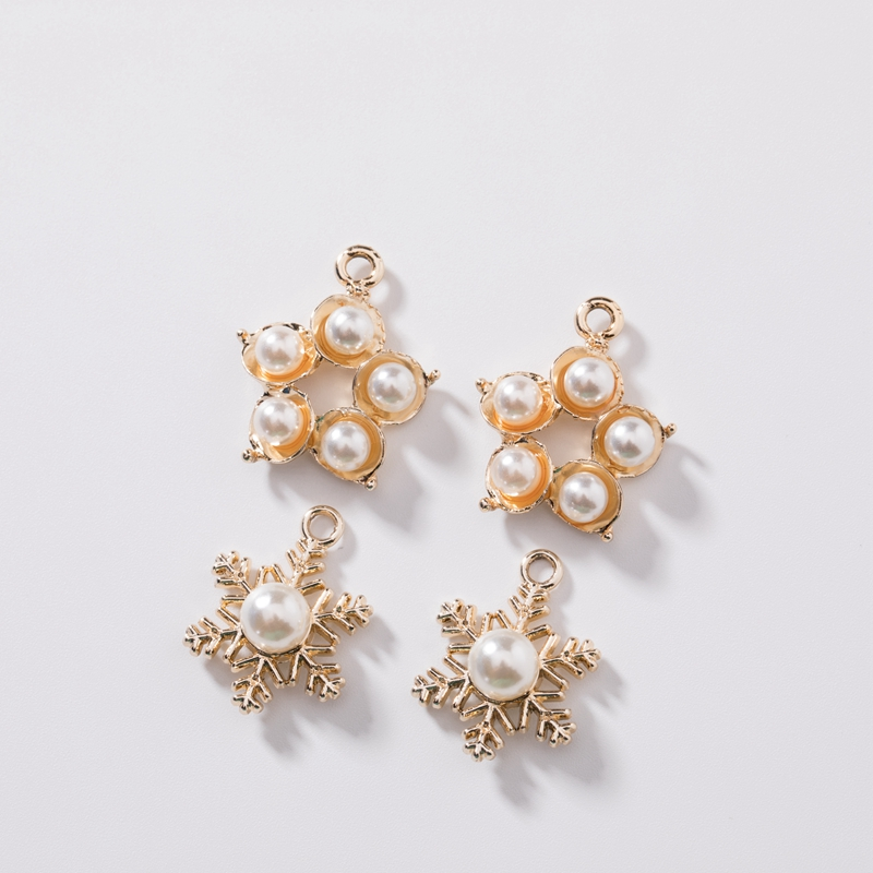 20MM Snowflake Flower Shape KC Gold Color Alloy Beads Glass Pearl Jewellery Pendants Jewelry Charms