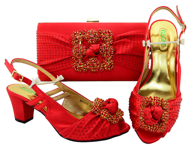 Big size 38 to 43 sandals shoes with matching clutches bag red color low  heel for d813c9c2b293