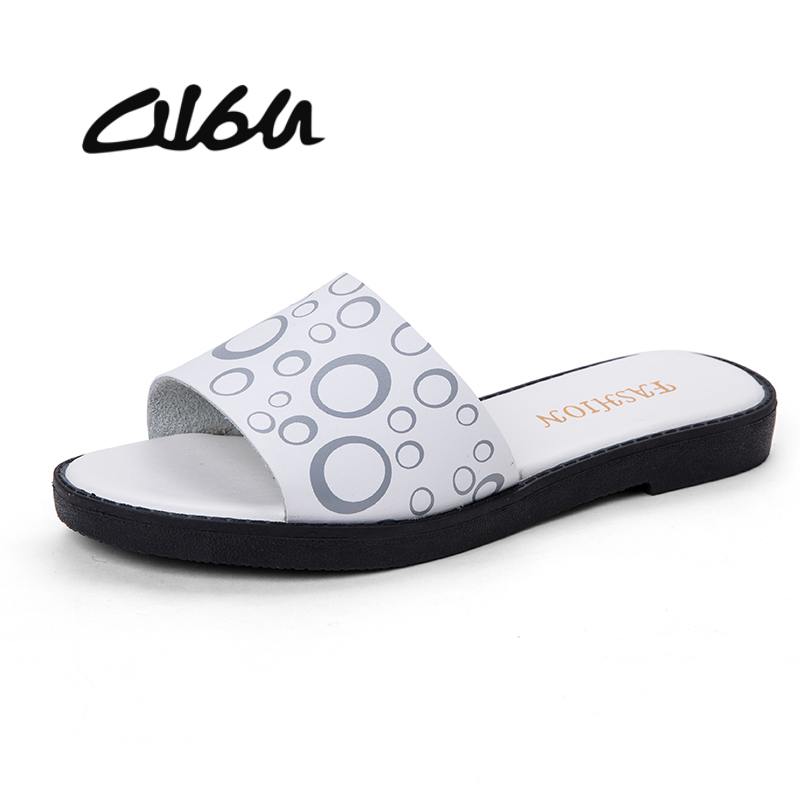 2116010ae28d O16U 2018 Summer women slippers flat sandals shoes beach shoes flip flops  women real leather slides flat mules ladies flipflops
