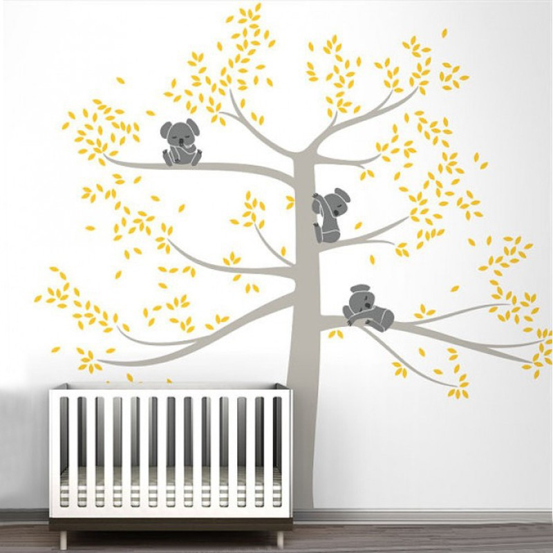 Large Size Wall Stickers Tree For Kids Room Baby Nursery Koala Tree Wall  Art Decal High Quality Custom Color Wall TattooD503B In Wall Stickers From  Home ...