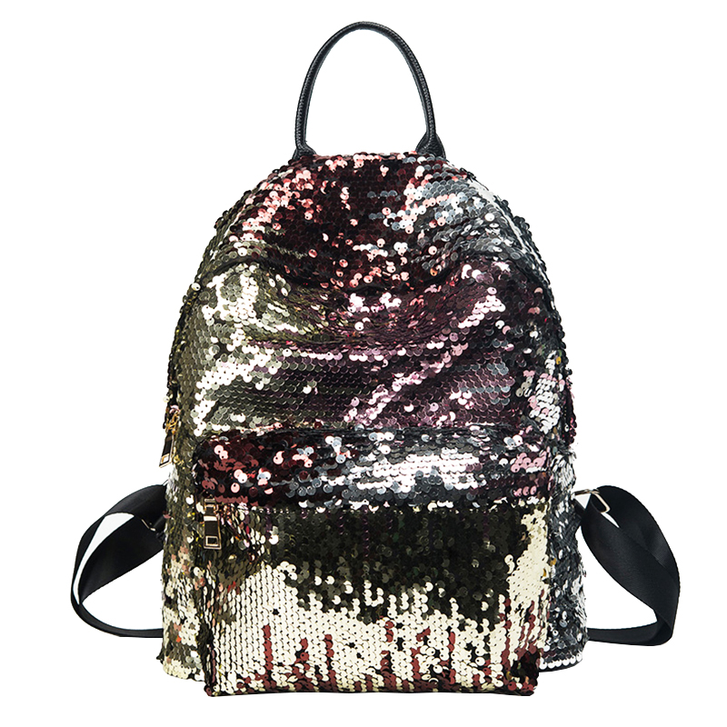 2017 New Fashion Sequins PU Backpack Women 4 Colors school bags for teenage girls Mini Backpacks