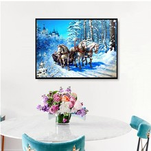 HUACAN Diamond Embroidery Scenery 5D Diamond Painting Cross Stitch Horse Picture of Rhinestones Home Decor Christmas Gifts
