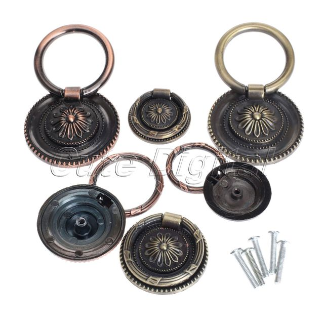 DRELD 37/45/55mm Brass Door Ring Pulls Zinc Alloy Round Ring Kitchen Cabinet