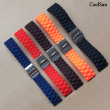 new 16mm18mm 20mm 22mm 24mm Universal Watch Band Silicone Rubber Link Bracelet Wrist Strap Light Soft For Men Women Wristwatch