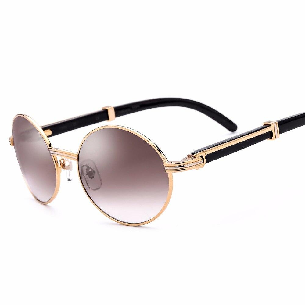 With Original Logo Box 2018 Buffalo Horn Glasses Carter Glasses Frame Rimless Sunglasses Men Round Sunglasses Luxury Eyewear