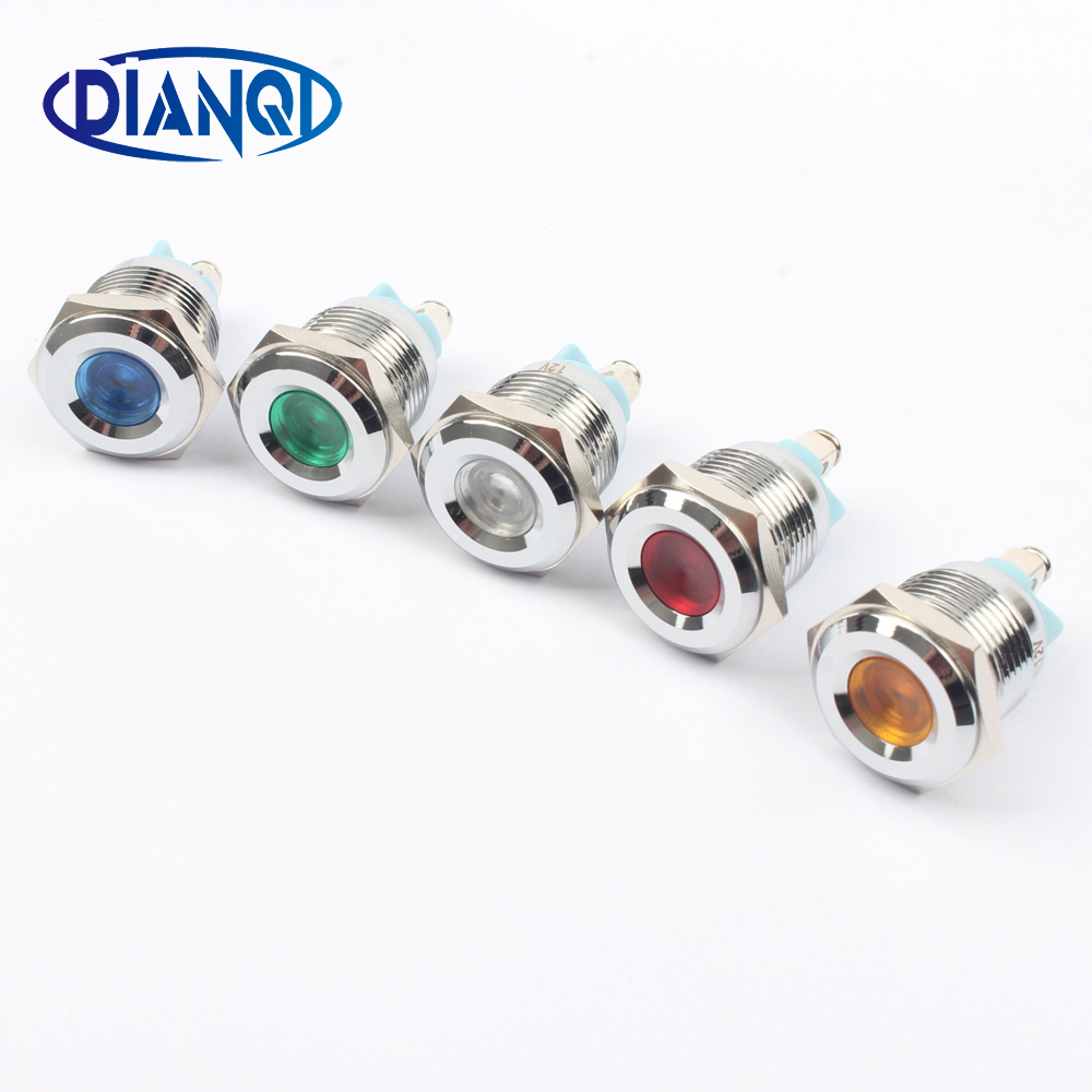 LED Metal Indicator Light 16mm Waterproof Signal Lamp LIGHT 3V 6V 12V 24V 220v Screw Connect Red Yellow Blue White 16ZSD.A.L