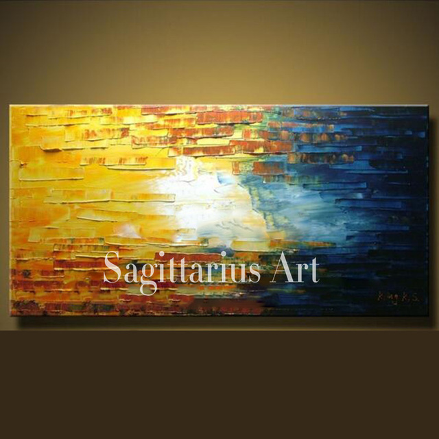 Hand Painted abstract White sky Palette Knife thick oil painting ...