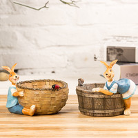 Resin Crafts Retro Creative Small Rabbit Flower Pots Small Ornaments Animal Decorative Rabbit Storage Box Modern