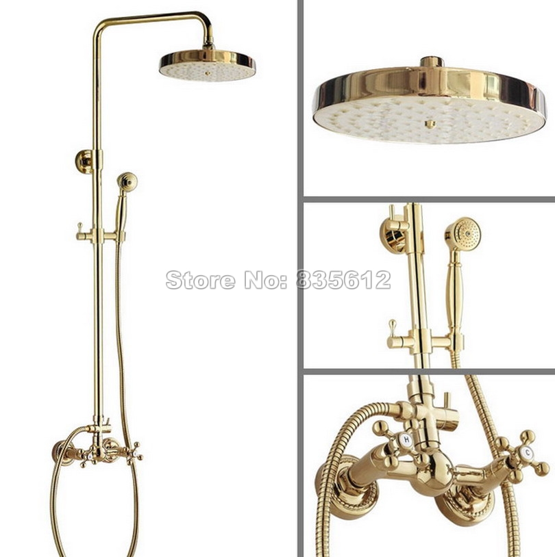 Bathroom Luxury Gold Color Brass Rain Shower Faucet Set + Wall Mounted Dual Handles Mixer Tap with Handheld Shower Head Wgf325  luxury bathroom rain shower faucet set antique brass handheld shower head two ceramics lever bathtub mixer tap ars003