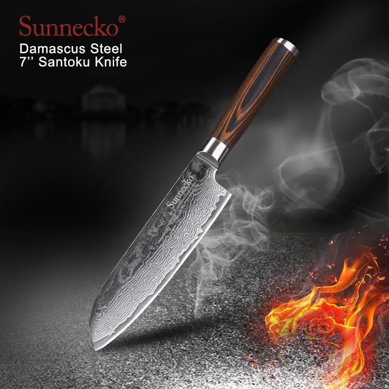 SUNNECKO 7 inch Santoku Knife 73 Layers Damascus Steel Sharp Blade Kitchen Knives Pakka Wood Handle