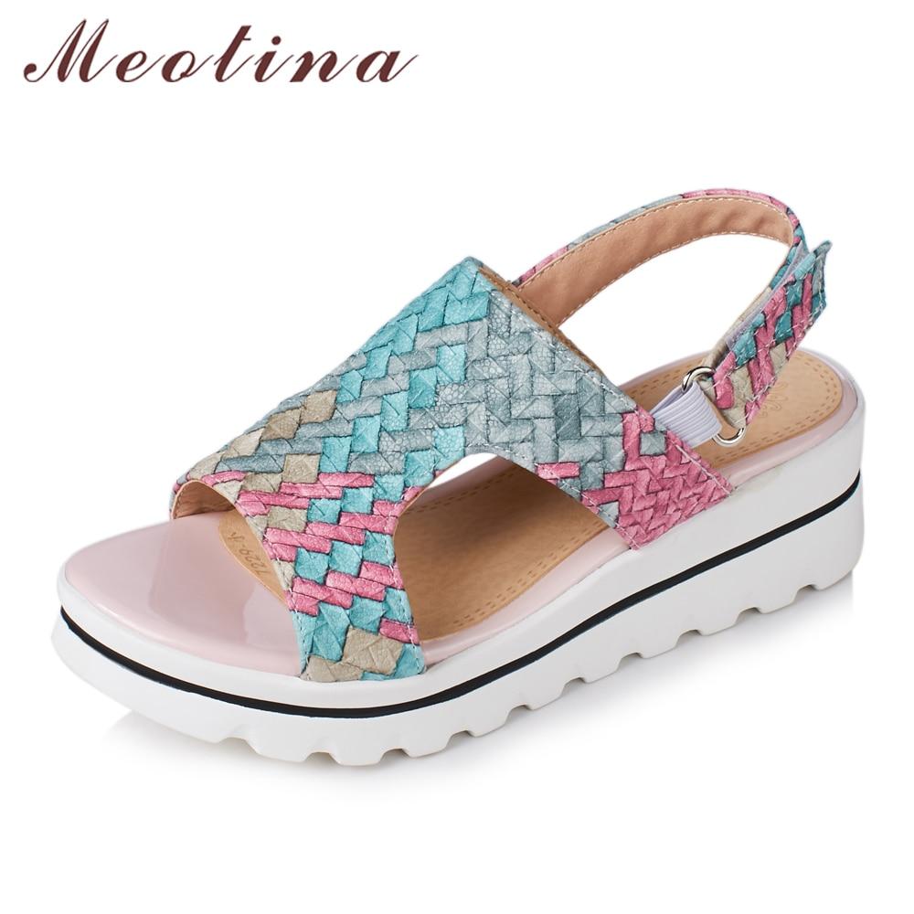 Meotina Kasut Wanita Sandal Platform Sandal Terbuka Platform Sandal Wedge Wanita Kasut Pantai Warna Campuran Kasut Causal 34-42