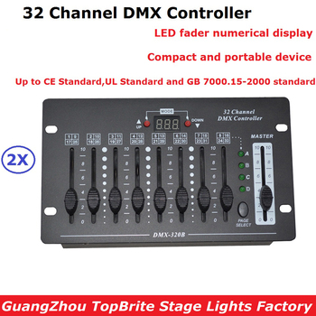 2 Unit 32 Channel DMX Lighting Controller DMX 512 DJ Disco DMX Console Equipments For Stage Party Wedding Events Lighting Shows 2xlot big discount 6 channel simple dmx controller for stage lighting 512 dmx console dj controller equipments free shipping