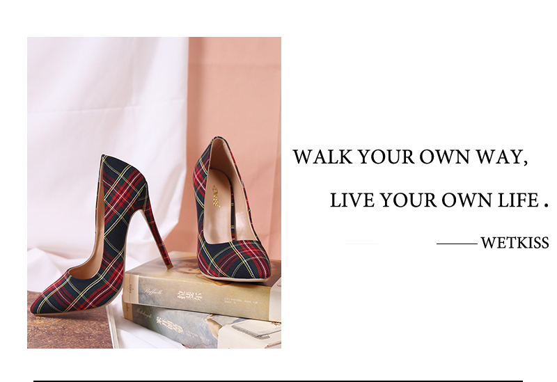 Pumps Heels Red Pointed Plaid Shoes 8