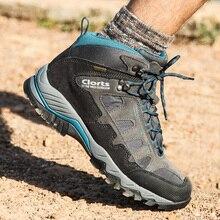 e1d92603 Clorts wodoodporna piesze wycieczki trampki dla mężczyzn prawdziwej skóry  taktyczne buty górskie buty mężczyzna oddychające buty