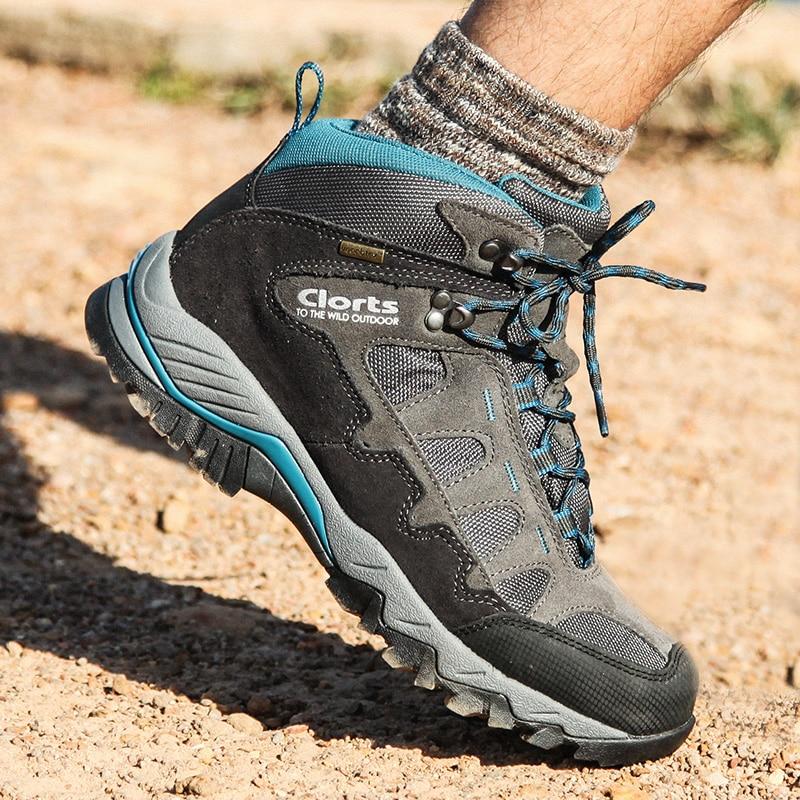 f9b1d5e71 Clorts Caminhadas Sneakers para Homens Couro Genuíno Tático À Prova D' Água  Sapatos Botas de Montanha Homem Respirável Tênis Para Caminhada Ao Ar Livre  ...