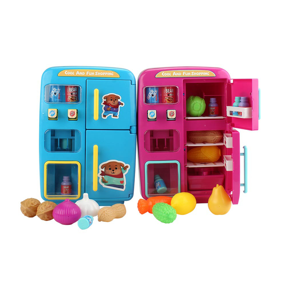 Children's Electric Simulation Double Refrigerator Vending Machine Play House  Toy Fruit Vegetable Food Pretend Play Children