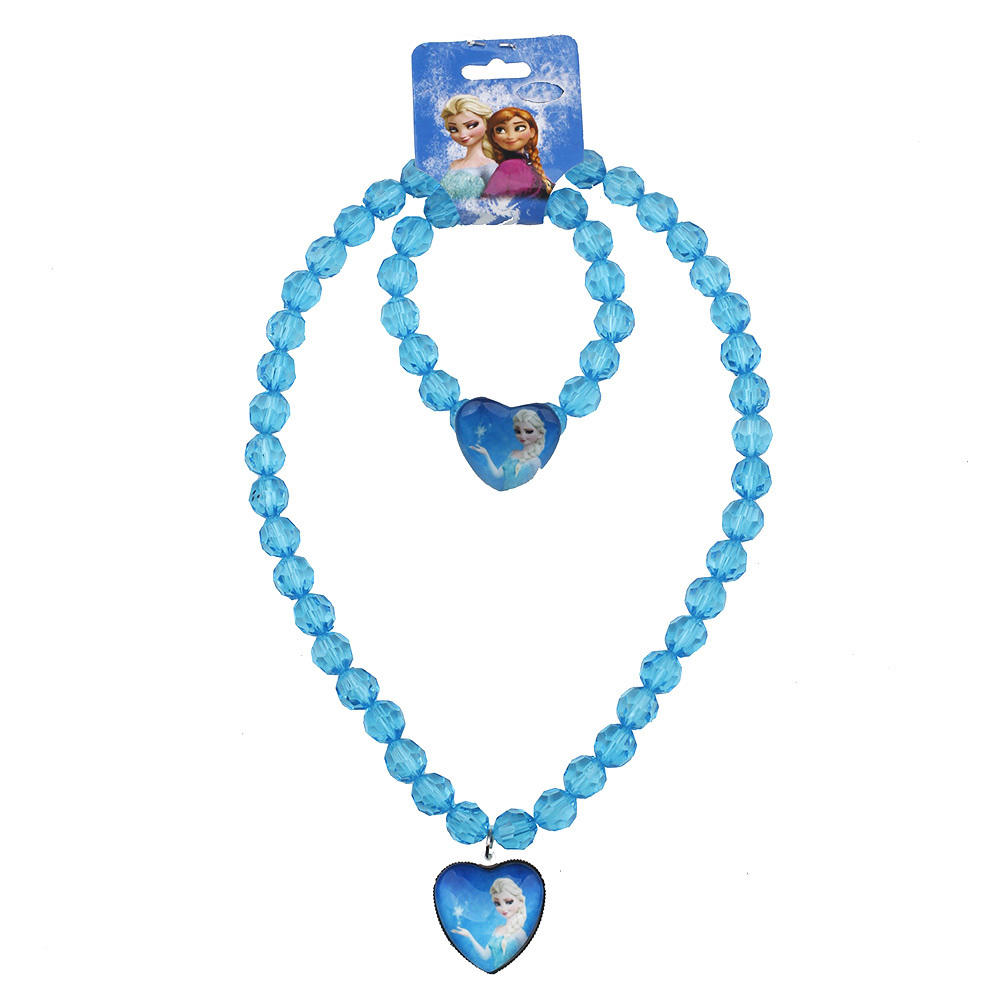 2018 new Baby  Girls jewelry necklace Elsa anna hello kitty Children beads accessories princess new style  Elsa pendant necklace 2018 new fashion custom anna elsa girls