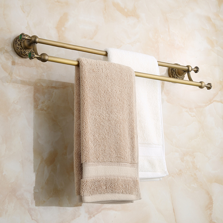 Antique Brass Bathroom Towel Racks Double-Layer Luxury Green Crystal& Carved Copper Towel Bars Bathroom Accessories antique brass double towel bars art carved style papel de parede listrado