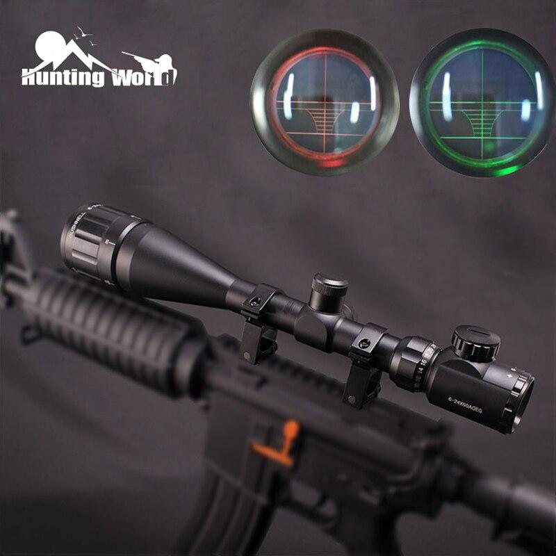 Portée de fusil tactique 6-24X50AOEG réticule de télémètre illuminé rouge vert réglable pour lunette de chasse
