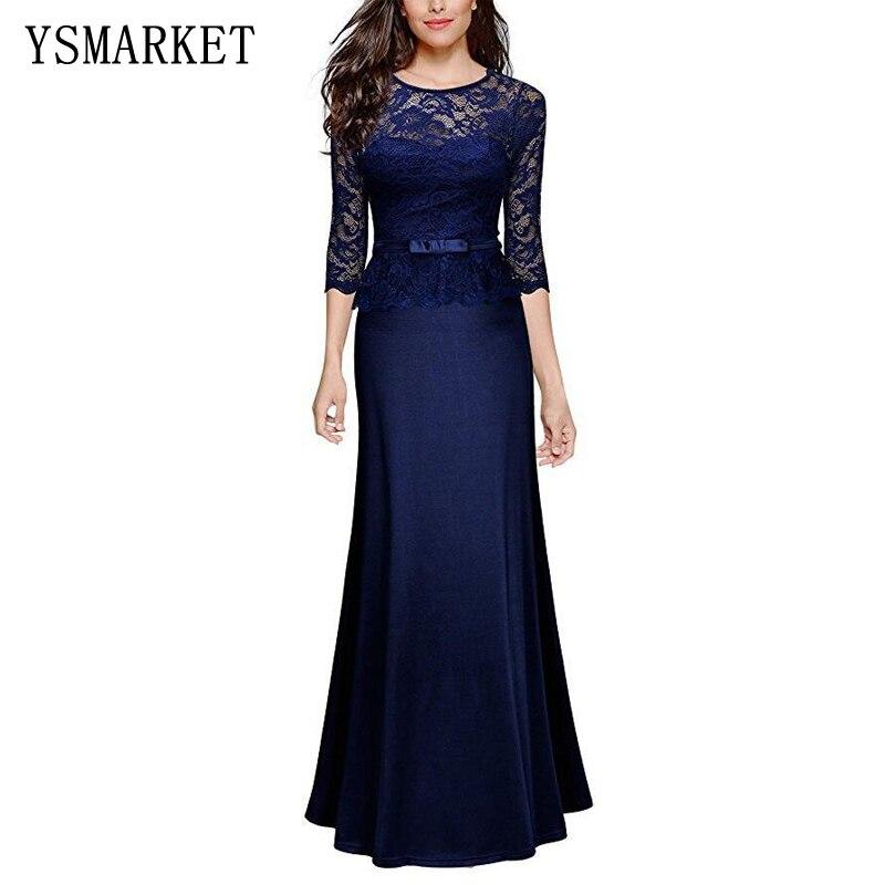 YSMARKET haute qualité 2018 femmes sexy dentelle occasion spéciale peplum étage longueur dîner soirée maxi longues robes E1532