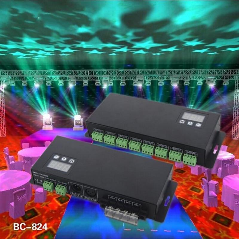 BC-824 24CH DMX512 RGB décodeur 24 canaux led RGB contrôleur DMX tension constante décodeur 3A * 24CH sortie