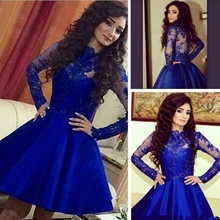 Langarm Royal Blue Kurze Brautkleider 2016 Fashion Appliques-spitze Günstige Stain Knielangen Homecoming Kleider Für Mädchen Party