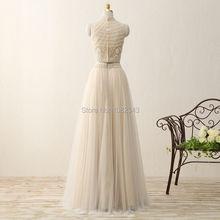 Elegant High Neck Tulle Sleeveless A Line Long Prom Dresses