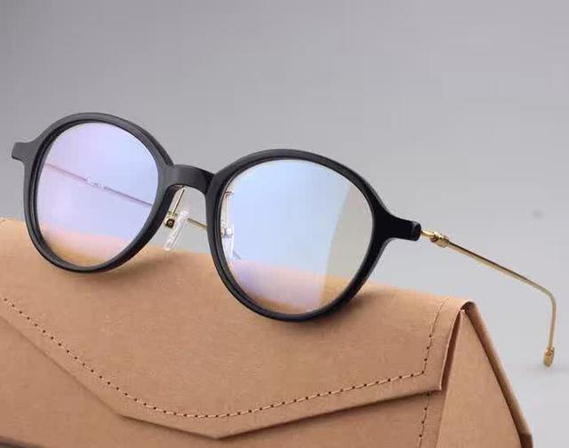 Retro Do Vintage Das Mulheres Dos Homens de Moda Full-aro de Acetato Óculos Frame Ótico Rodada Mypoia/armações de Óculos de leitura Espetáculo Mais Leve