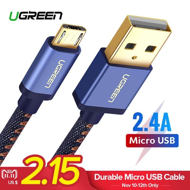 Ugreen Micro USB De Charge Câble pour Xiaomi Note 2.4A Rapide Chargeur Mobile Téléphone USB Câble pour Samsung S7 Huawei Android USB Cordon