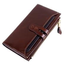 Neue stil lange brieftasche luxusmarke bestnote Retro einfarbig Allgleiches echtes leder frauen brieftaschen Großer kapazität