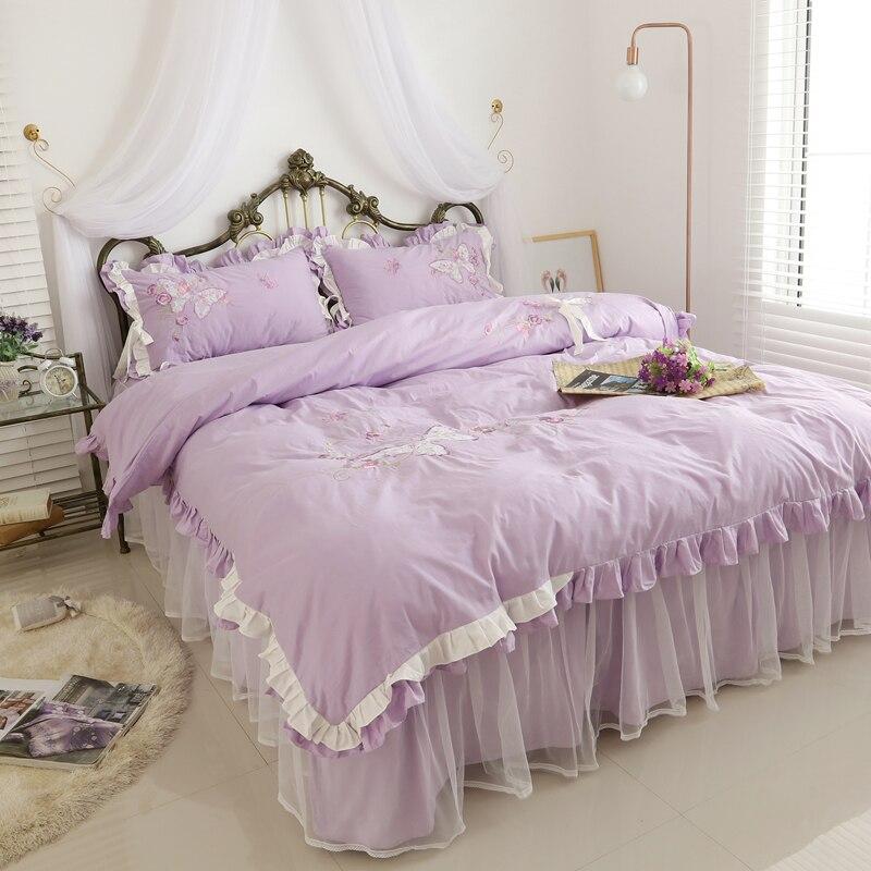 Image 4 - Korean Embroidery Lace Home Textile Bedding Set Luxury 4pcs Princess Ruffle Duvet Cover Elegant Bedspread Bed Skirt 100 Cottonbedding set luxurybedding setlace bedding sets -