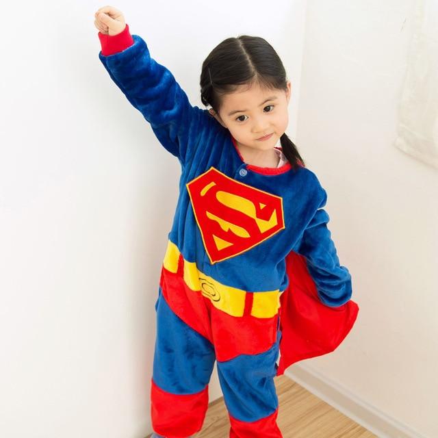 b5cb39f418 Kids Baby Boys Girls Superhero Capes Cartoon Onesies Pajamas Flaneel Fleece  Sleepwear Pyjamas 2016 Carnival Halloween Costumes