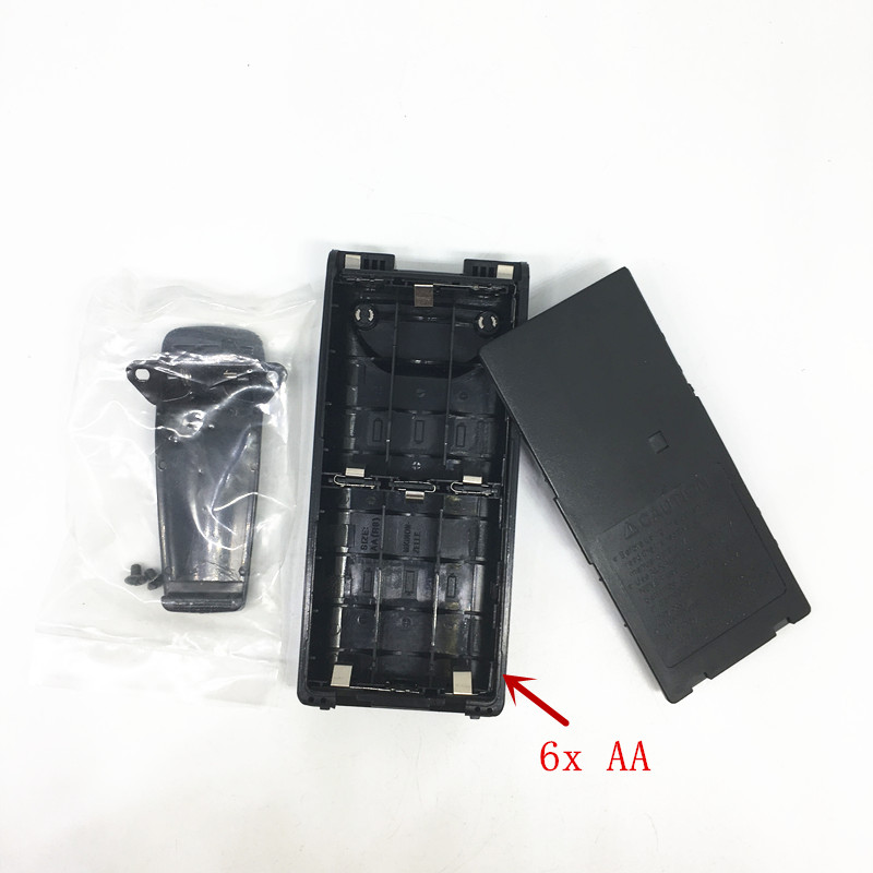 5pcs/lot 6xAA battery case box for ICOM IC-V8/V82/U82/F3G/F3GT/F3GS/F4G/F4GT/F4GS/F11/F11S/F21G etc walkie talkie with belt clip