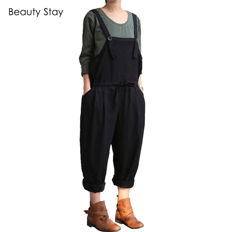 BeautyStay Loose Ladies Fashion Maternity Jumpsuits Cotton Women Bib Plus Size Suspender Rompers Overalls Casual Pregnant Pants