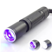 2 led Purple white UV Violet flashlight Flash light Blacklight Ultraviolet Zoomable Torch Lamp Protable for Money Detection(China)