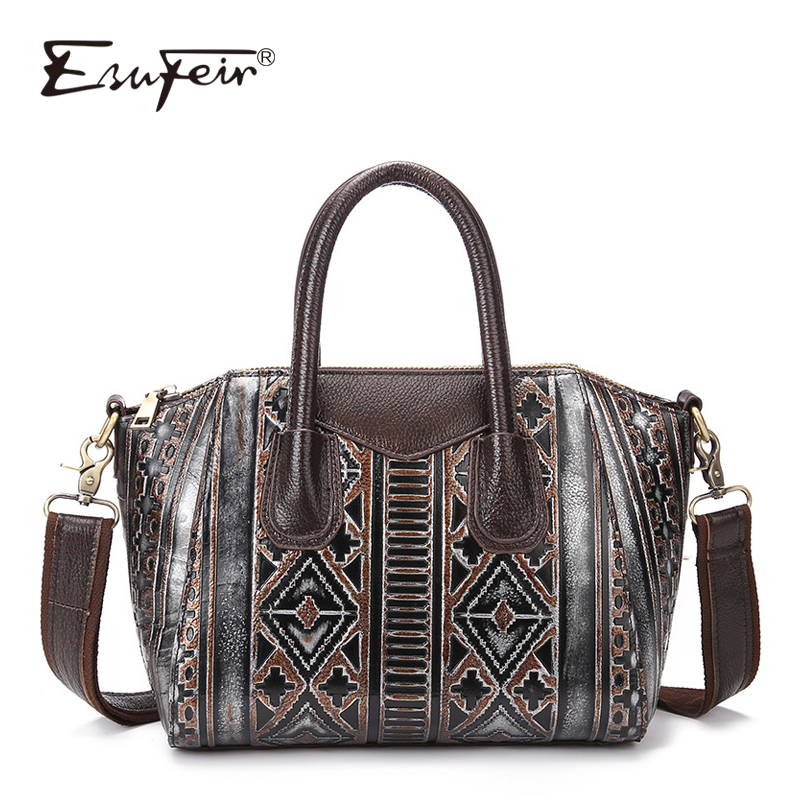 ESUFEIR Brand Luxury Handbags Women bags Designer Genuine Leather Embossed Shoulder Bag Fashion Women Messenger Bag Ladies Tote esufeir genuine leather handbag for women fashion brand designer shoulder bags cow leather crossbody bag ladies trapeze tote bag