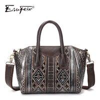 ESUFEIR Brand Luxury Handbags Women Bags Designer Genuine Leather Embossed Shoulder Bag Fashion Women Messenger Bag